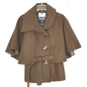 Kensie Olive Green Button Cape Tie Jacket NEW